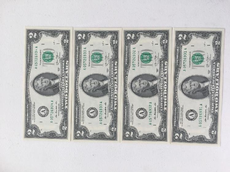 4 billetes nuevos 2 dolares numeracion consecutiva perfectos
