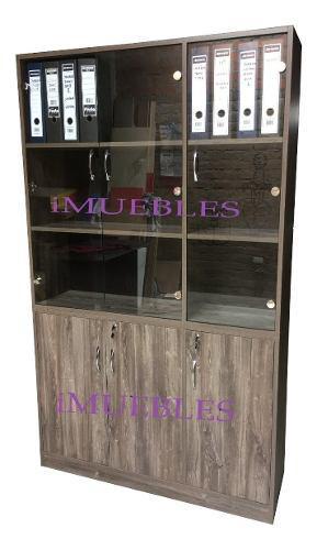 Estante librero de melamina y puertas vidrio. archivador