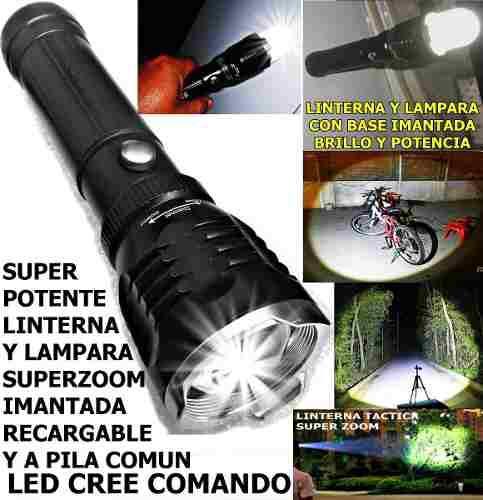Potente linterna lampara imantada led cree t6 100 metros