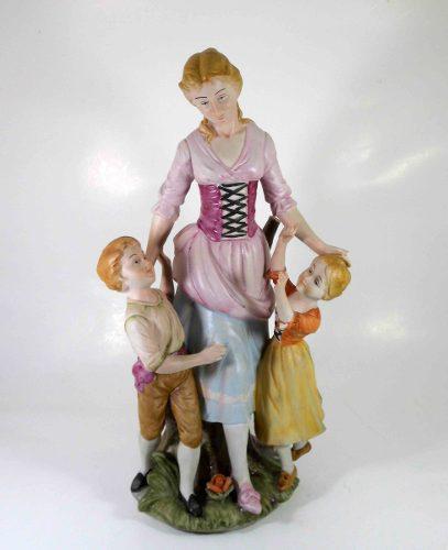 Capodimonte antigua figura madre e hijos porcelana italiana