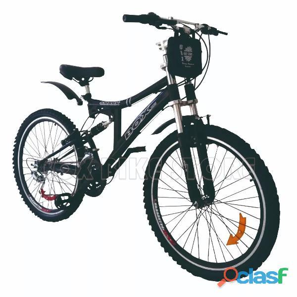 Bicicleta montañera aro 26 doble amortiguador unisex en colores blanco o negro