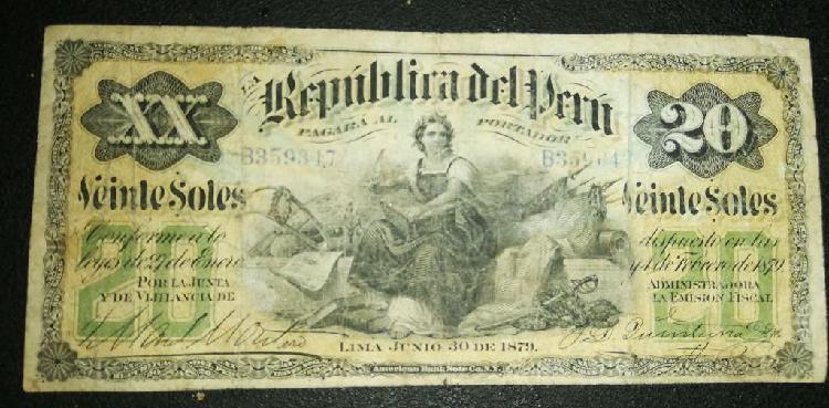 Billete peru 20 soles 1879 bank notes