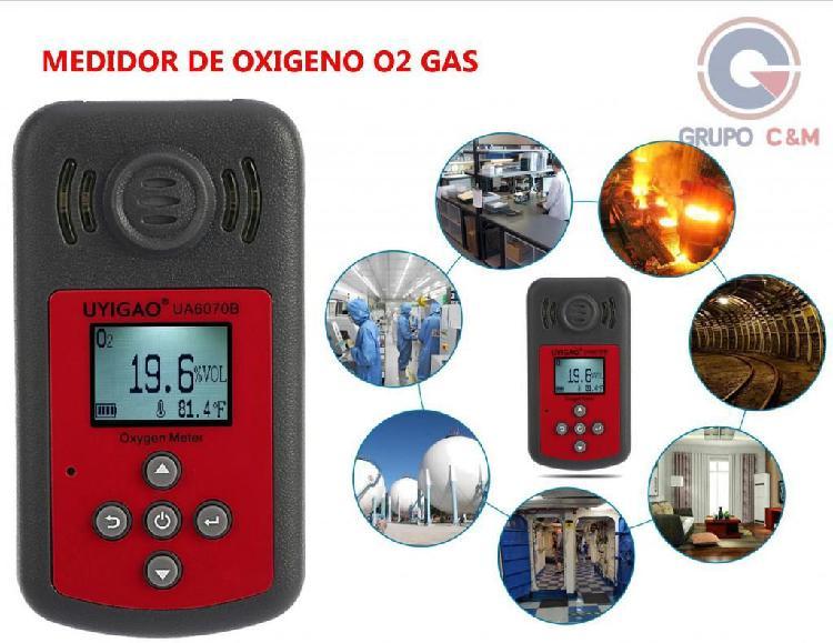 Medidor de oxigeno o2 gas portatil alarma luz y sonido