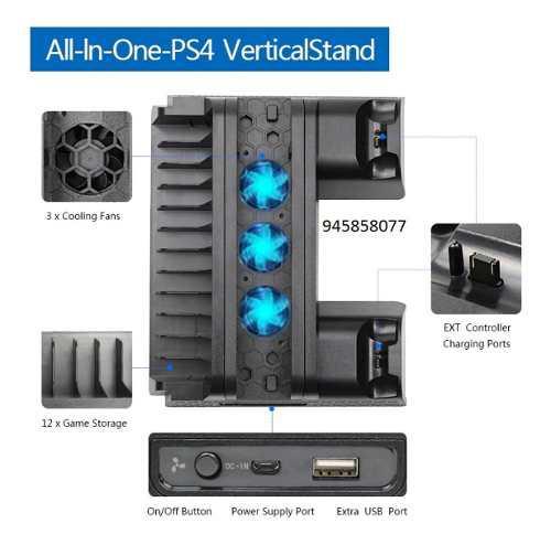 Soporte vertical con ventiladores para ps4/ps4 slim/ps4 pro