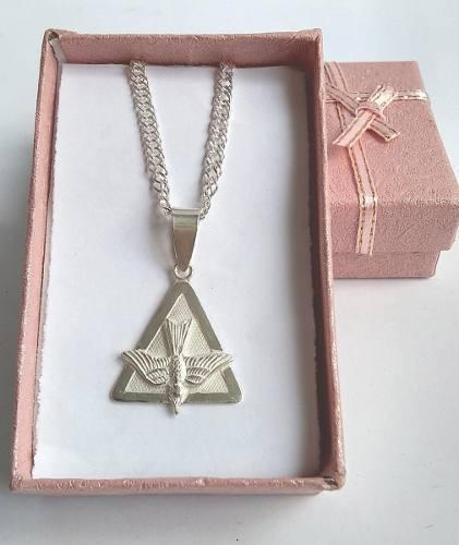 Medalla unisex espíritu santo - modelo estampado - plata