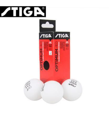 Tres pelotas blancas tenis de mesa stiga optimum 3 estrellas
