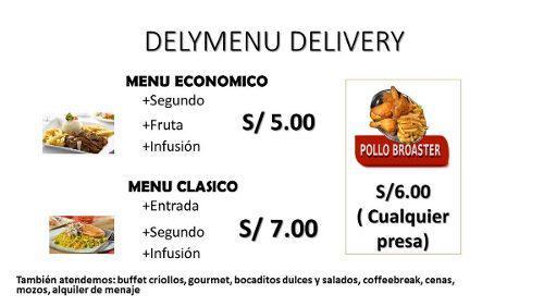 Menu cena delivery buffet criollo para todo tipo de evento