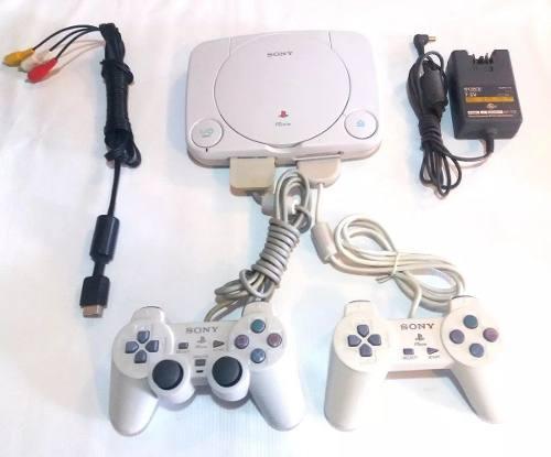 Playstation 1 slim chip - controles - memory card + juegos