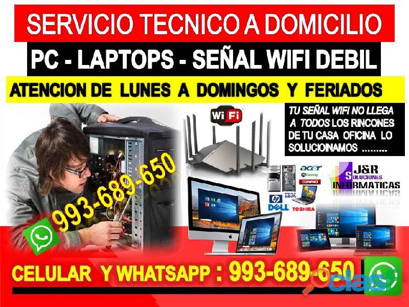 Servicio tecnico a pcs internet laptops a domicilio