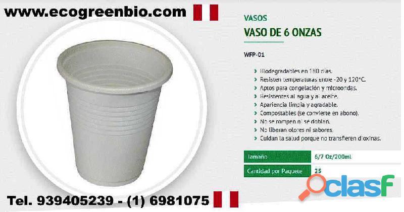 Vasos y cubiertos biodegradables descartables lima pueblo libre peru ecogreenbio