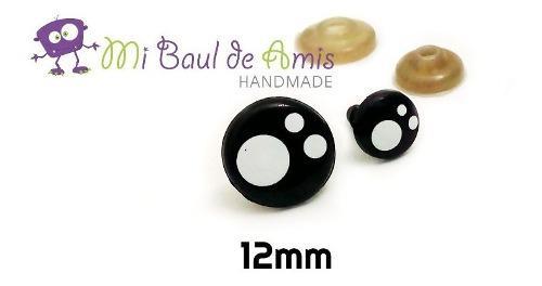 Ojos de seguridad negros de 12mm para amigurumi y peluches