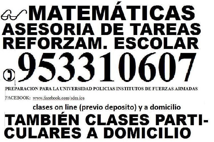 Clases matemáticas on line 953310607 escolares,