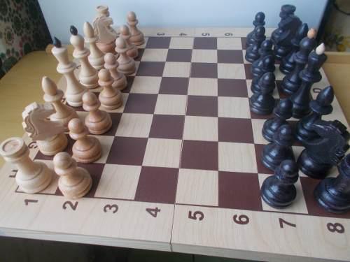 Juego ajedréz madera tablero 40 cm figuras grandes rusia