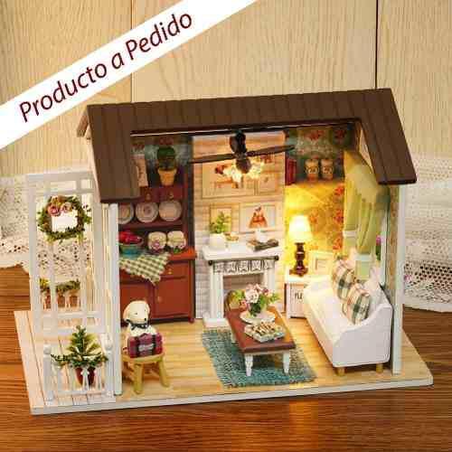 Casa de muñecas y miniatura sala de estar happy regalo