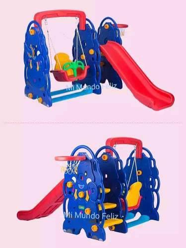Juegos para niños 5 en 1 resbaladera tobogan basquet y aros