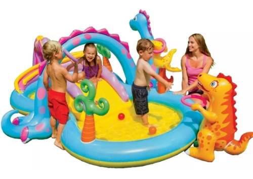 Piscina inflable dinosaurio niños jardin juegos