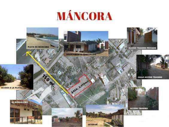 Terreno en máncora 2,350 m² c/ 02 bungalows en piura