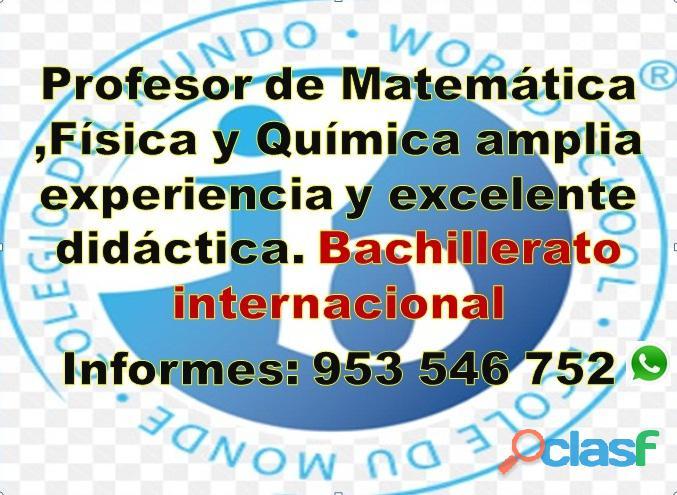 Profesor de Matemáticas, Física y Química a domicilio o en línea (gratis) cel 953546752 4