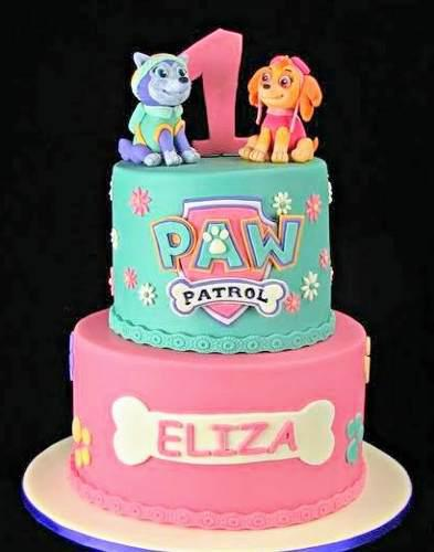 Torta patrulla canina niña, paw patrol, pisos, porciones