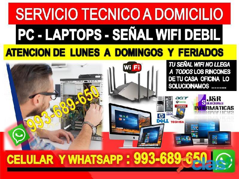 Servicio tecnico wifi pcs laptops cableados a domicilio