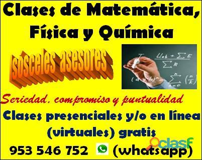 Profesor de matemática , física y química presencial y/o en línea (virtual) gratis cel 953546752
