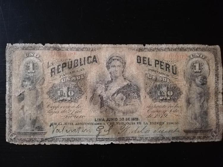 Billete 1 Sol 1879 Guerra con Chile.