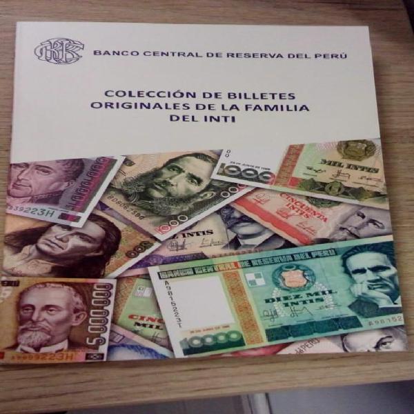 Folleto con Colección de Billetes Intis UNC