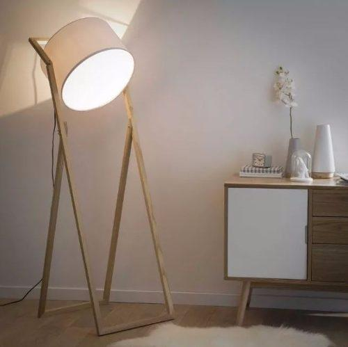 Lámpara decorativa de pie madera sidsel diseño único!
