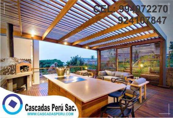 Modelos decorativos techos sol y sombra de aluminio, madera