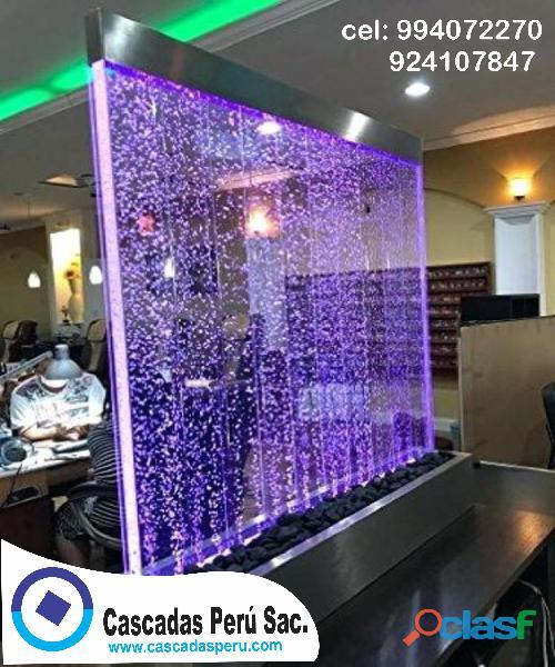 Cortina de agua, panel de burbuja, multicolores, decorativos, piletas, cascadas para todo evento