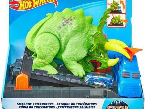 Hot wheels ataque de triceratops dinosaurio.
