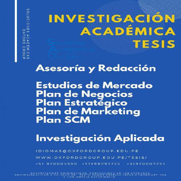 Asesoría en trabajos de grado, master y tesis doctorales