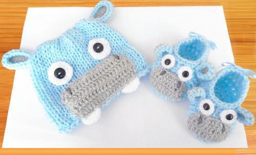 Bebe crochet gorro zapatitos 0 a 3 meses baby shower