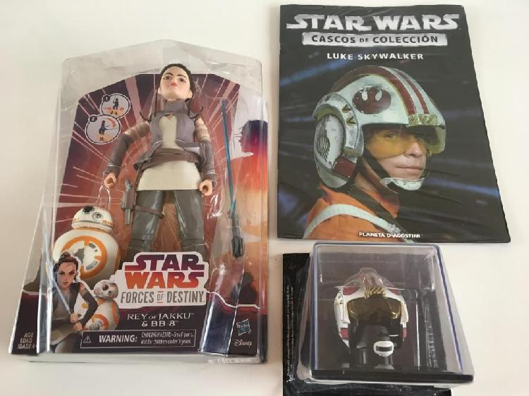 Pack star wars (rey of jakku, bb8, mini_casco y revista)