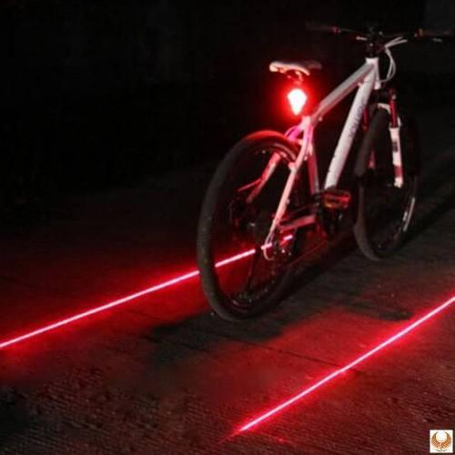 Luces traseras bicicleta 5 led, 2 laser, 3 modos de luz rojo
