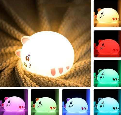 Lámpara silicona gatito recargable