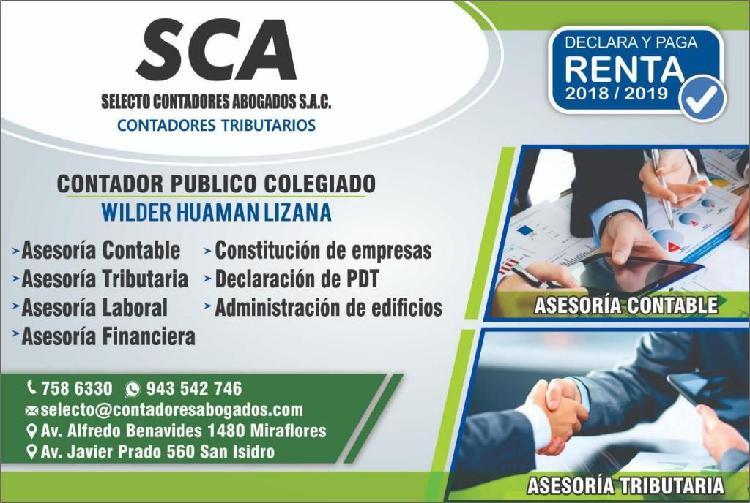 Asesoria,contador externo o interno, estudio contable