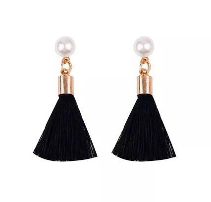 Aretes de moda borlas hilos tassles negro