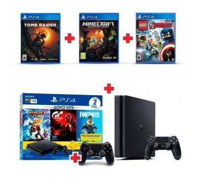 Consola ps4 1tb family bundle+ dualshock 4 negro+3 juegos