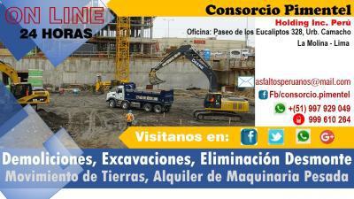 Maquinarias, movimiento de tierras, demoliciones perú 2019