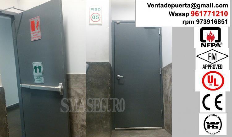 puerta cortafuego certificado de una hoja con sis accesorios