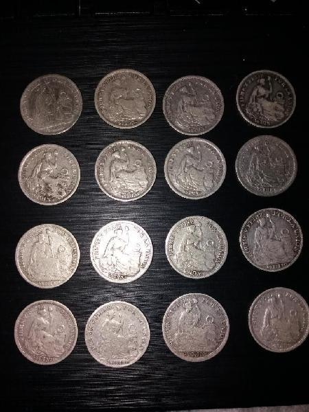 Monedas medio dino plata nueve decimos