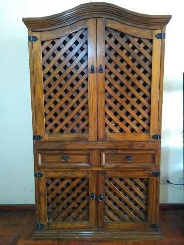 Hermoso bargueño de madera - mueble bar rústico