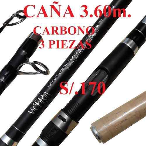 Caña 3.60m carbono de pesca 3 piezas victoria pescar