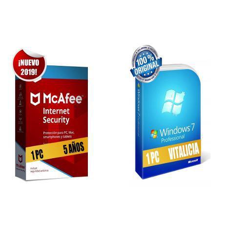 Mcafee internet security 2019 1 pc 5 años mas windows 7 pro