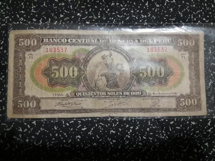 Billete 500 soles año 1946 escaso