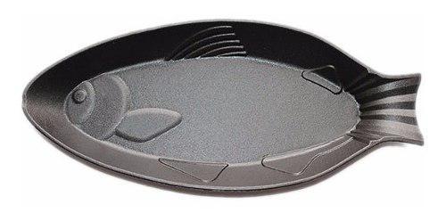 Plancha hierro plato pez bandeja pescado hierro fundido