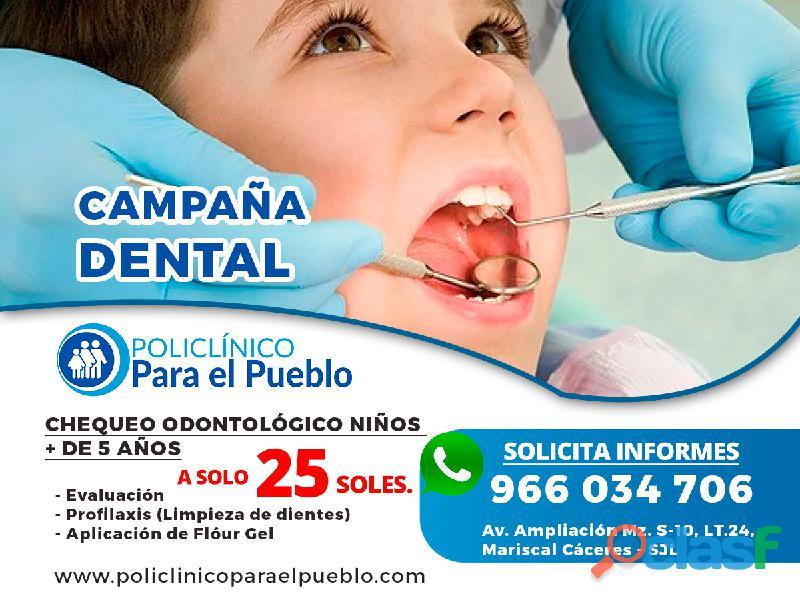 Policlinico para el pueblo – campaña dental en sjl chequeo odontológico niños + de 5 años