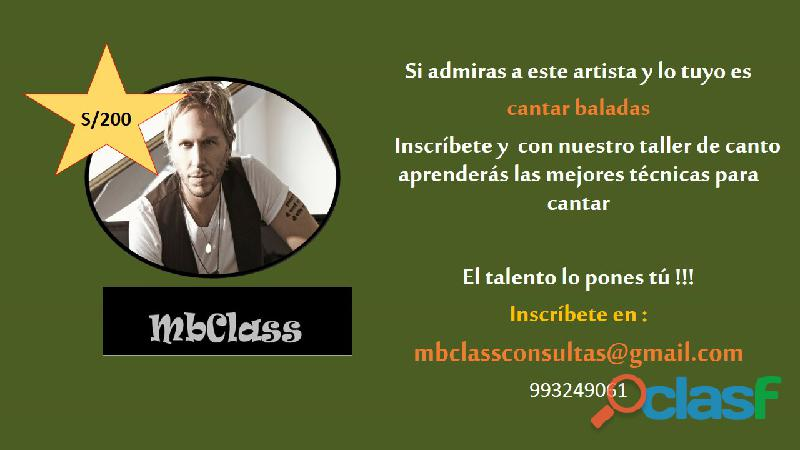 Clases de canto profesional !! mbclass