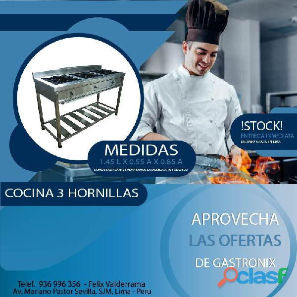 Cocina 3 hornillas en acero ¡super oferta!
